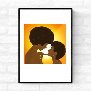 Framed wall art print of a mother looking lovingly and smiling at her young daughter, and her daughter smiling back