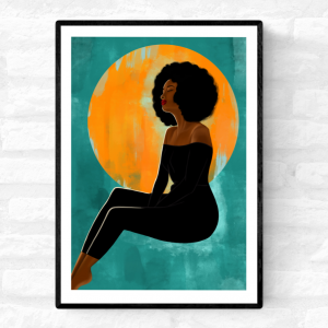 Framed art print of a black woman with an afro, and dressed in black sitting in front of the sun