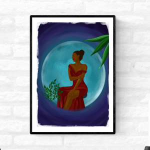 Wall print illustration of a black woman sitting in front of a big blue/grey moon surrounded by plants