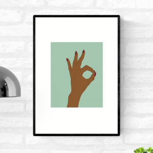 Framed wall art print of a hand making an A-Okay hand sign against a green background
