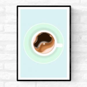 Kitchen illustration art print that is framed of a black, rich, smooth cup of coffee by Love Row Home