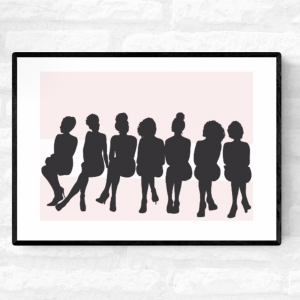 Framed wall illustration of silhouette of black women sitting on the front row of a fashion show with a pink background